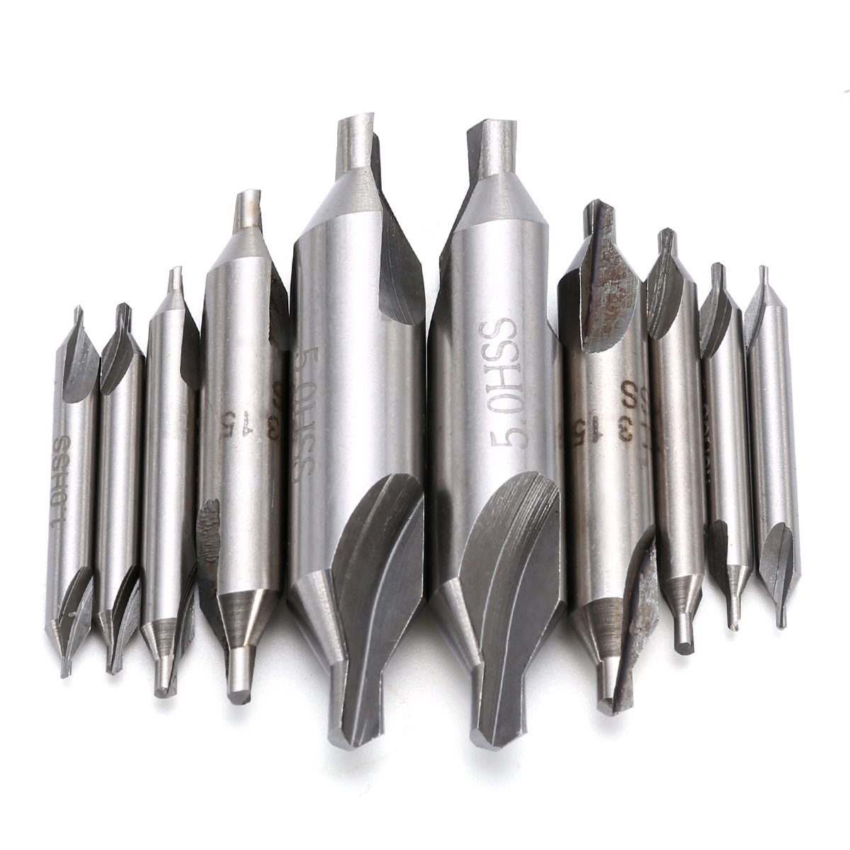 10pcs  60 Degree Combined Countersink Center Drills Bits 1/1.5/2/3.15/5mm High Speed Steel For Power Tools