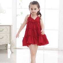 Girls dress 2019 new cotton sling A word cake baby solid color childrens clothing