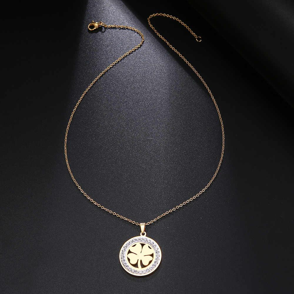 Cacana ze stali nierdzewnej kryształowe okrągłe wisiorki naszyjnik kobiety Choker biżuteria koniczyna Trendy naszyjniki łańcuch walentynki