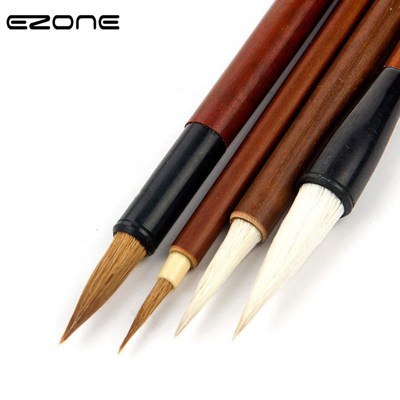 EZONE 4 PCS Writing Brush For Calligraphy Practice Watercolor Painting Different Size Wool Weasel Hair Brush Students Stationery