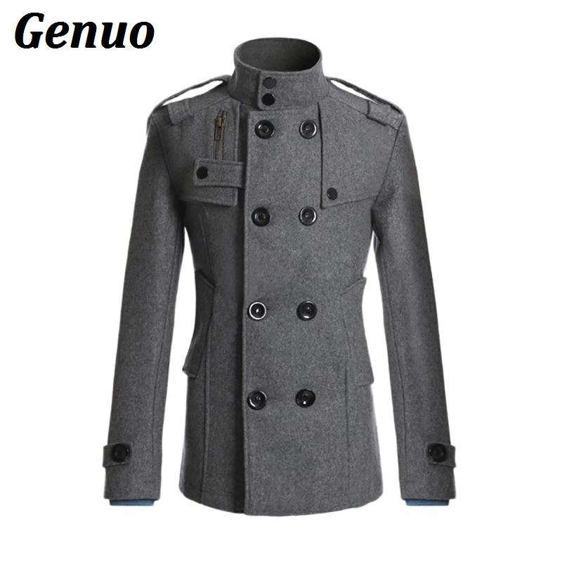 Fashion Mandarin Collar Double Breasted Male Jacket Autumn Winter Wool Blends Coat Men Thick Warm Overcoats With Pockets Genuo