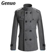 Мода воротник стойка двубортный мужской пиджак осень зима шерсть пальто для мужчин толстые теплые с карманами Genuo