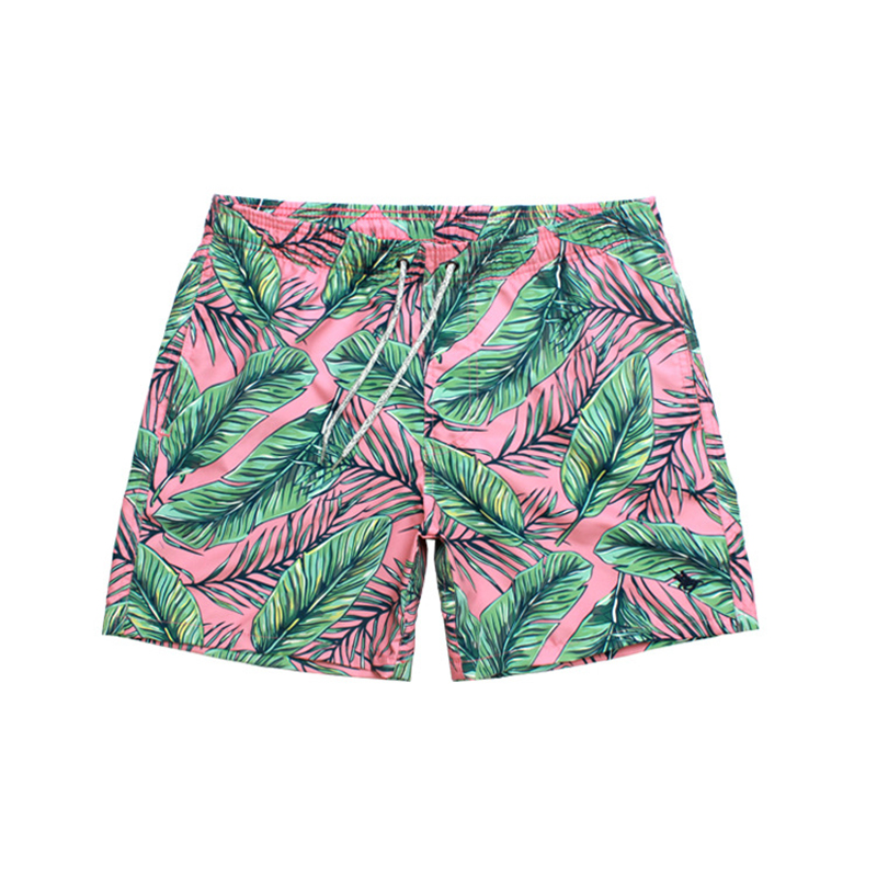 2019 Hot Men 39 s Leaf Print Board Shorts Quick Dry Beach Shorts Gay Surfing Bermuda Beach Wear Floral Swim Short Men Boardshorts in Surfing amp Beach Shorts from Sports amp Entertainment