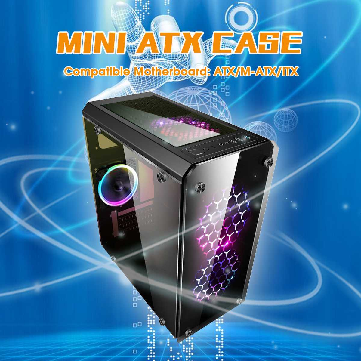 Mini ATX Computer Components PC Cases Towers Glass Panel Desktop Computer Mainframe Full side Transparent Chassis