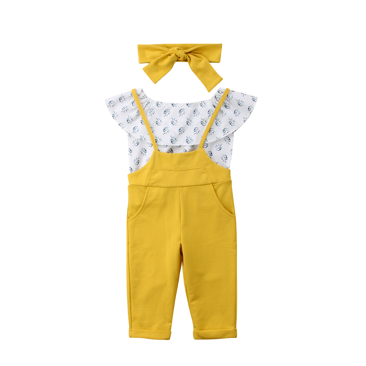 3PCS Toddler Kids Baby Girls Ruffles Flower Tops+Overalls Pants+Headband Outfits Clothes Set