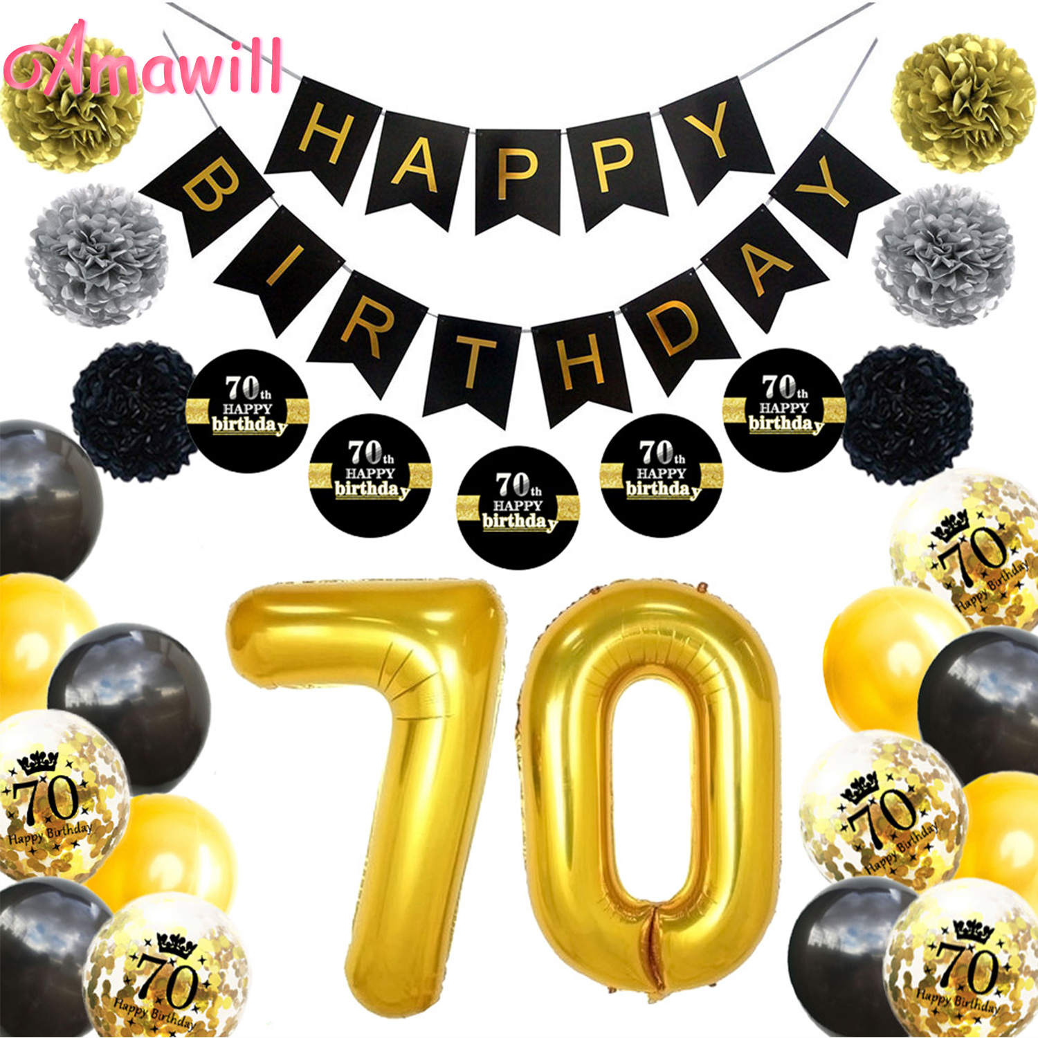 Amawil Adult <font><b>70th</b></font> <font><b>Birthday</b></font> Party Decorations Kit Black Banner Stickers Paper Pompom <font><b>70th</b></font> Happy <font><b>Birthday</b></font> Latex Confetti Ballon 7D image