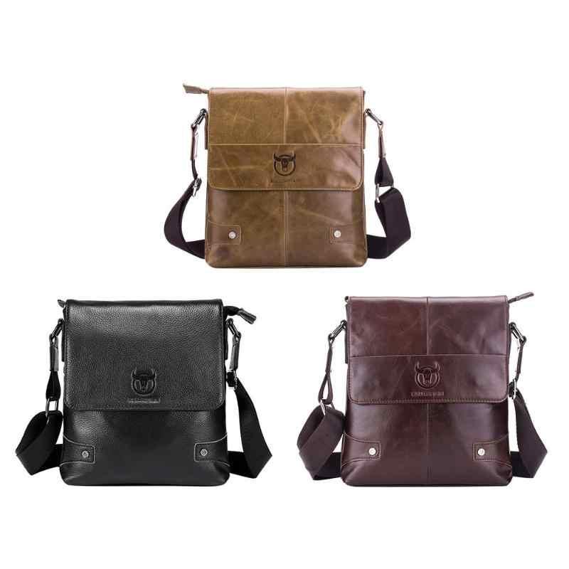 BULLCAPTAIN Men briefcase Bag Genuine Leather Crossbody Shoulder Bag for Man  Small Business Bags Male Messenger d91d20d1d004d