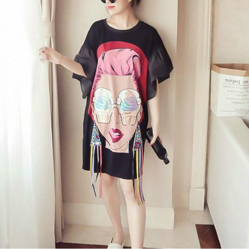 2018 Summer Girl Cartoon Sequins Print Tassel Irregular T Shirt Loose Plus  Size Women 3XL Female 18f1fbb1a1e0
