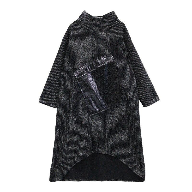 Midi Pour Nouveau De Décontractés Chicever Mode Ourlet Dress Robes Lâche Col Pu Vêtements Manches Roulé Black Patchwork Femmes À Des Longues Asymétrique Femelle Robe aIRq1nWw6I