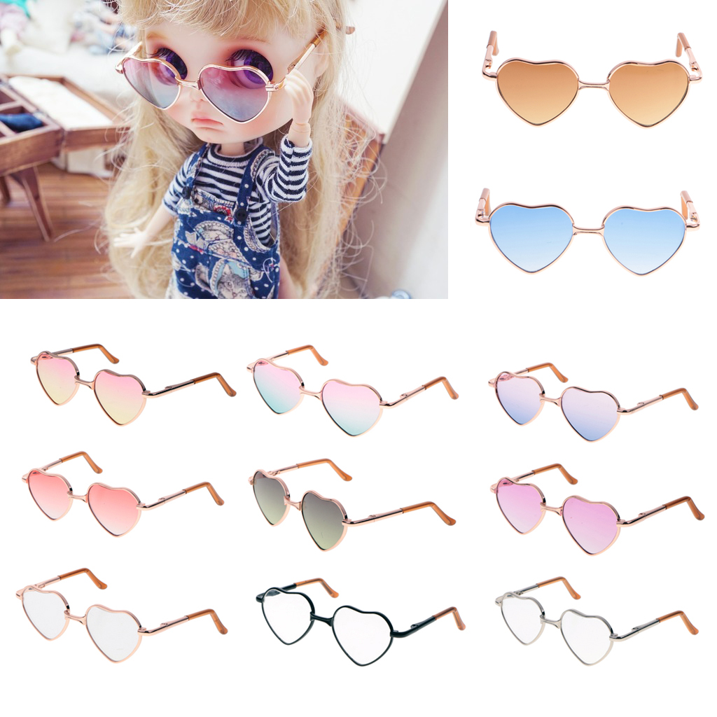 Stylish Metal Frame Glasses Heart-shaped Sunglasses For 1//6 Blythe Accessory