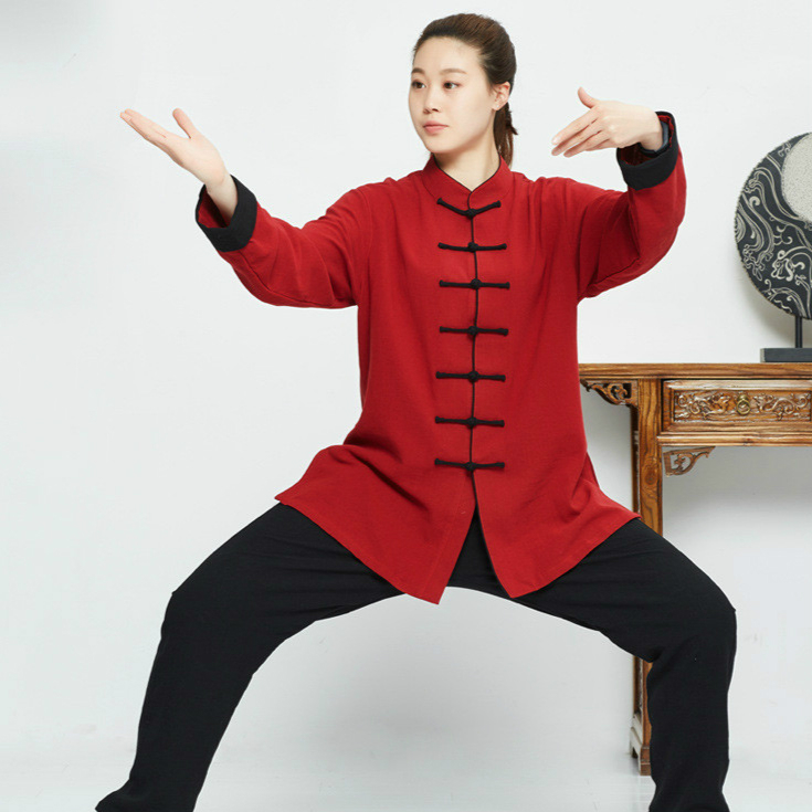 Thick Linen Tai Chi Uniform Kung Fu  Martial Art Wear Unisex Shirt And Pant Chinese Traditional Clothes Red Black  White Color