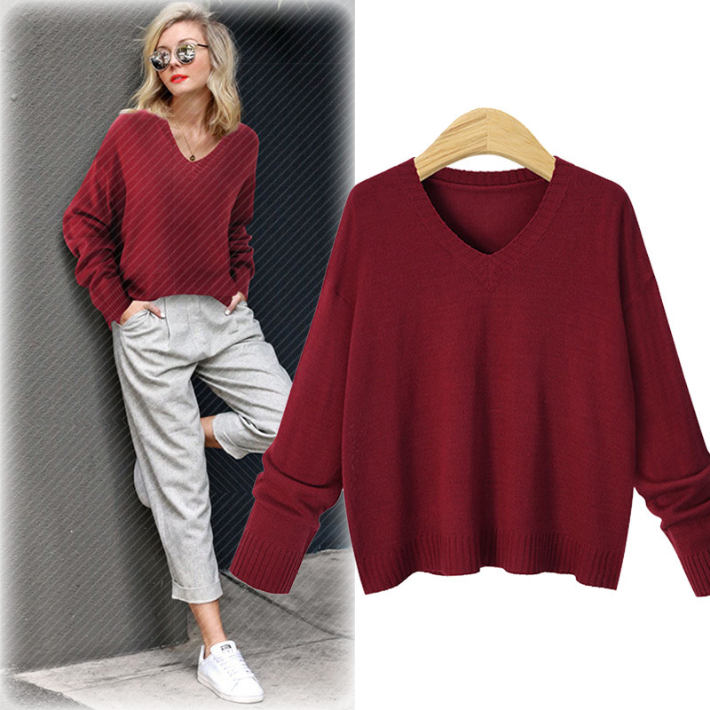 71d865c157 Queechalle 2018 Autumn Sweaters Women s V neck Casual Knitted Pullover  Sweater Female Solid Color Loose Sweater