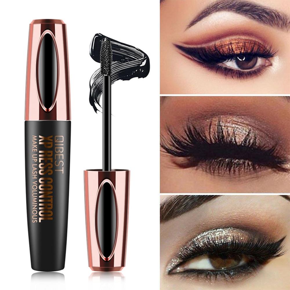 QIBEST Waterproof 4D Makeup Eyelash Mascara Eyelash Makeup Silk Fiber Lash Extension Lash Mascara Tubes Korean Cosmetics TSLM2