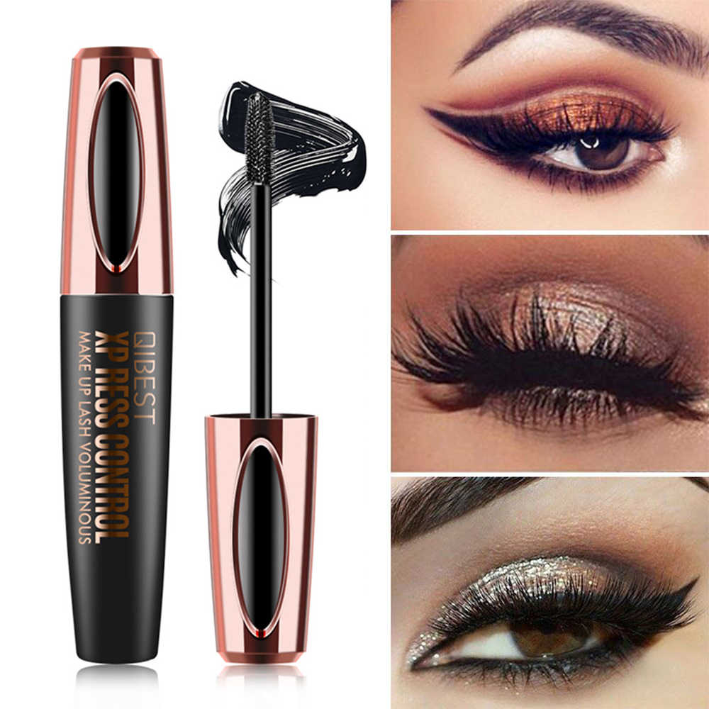 QIBEST Waterproof 4D Makeup Eyelash Mascara Eyelash Makeup Silk Fiber Lash Extension Lash Mascara Tubes Korean Cosmetics TSLM2