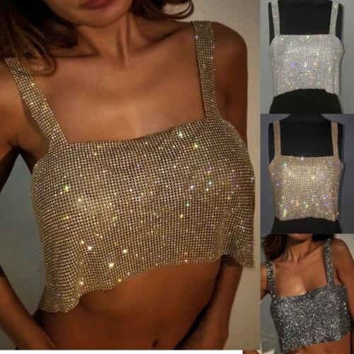 Crop topos boate feminino senhoras moda tanques camis bling sexy sparkly metal cristal strass metal chainmail cabresto drapeado