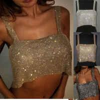Ernte Tops Strass Cropped Nachtclub Frauen Damen Tanks Camis Bling Sexy Sparkly Metall Kristall Metall Kettenhemd Halter Drapierte