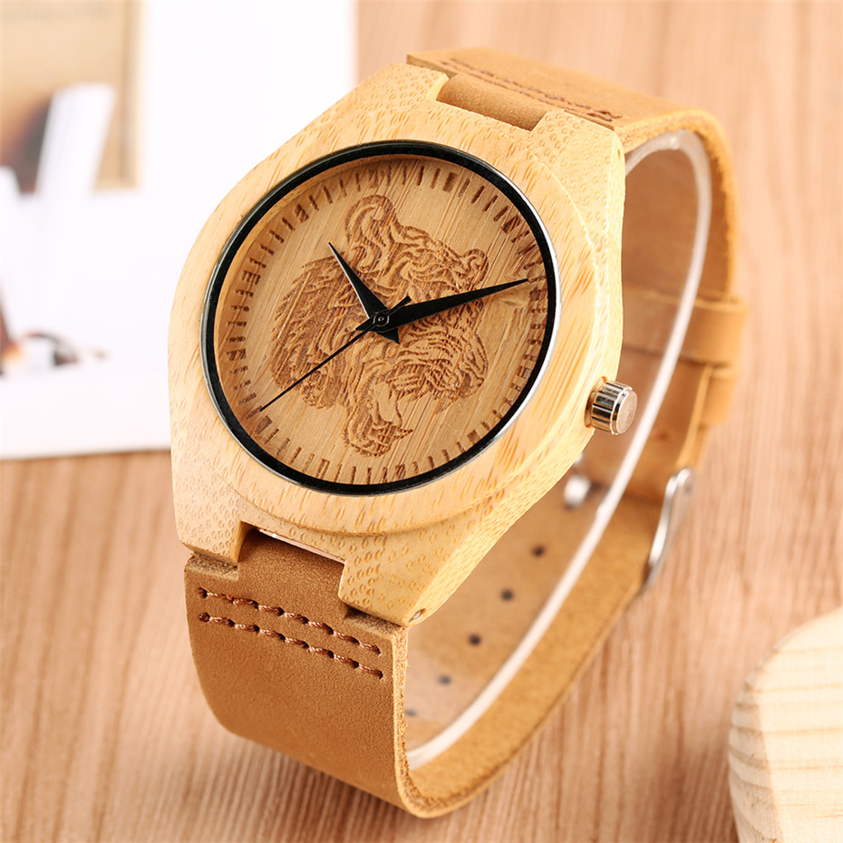 Engraved Tiger Wooden Watch Mens Quartz Brown Genuine Leather Wrist Man Clock Analog Men's Ultra-light Watches Gifts 2019 reloj