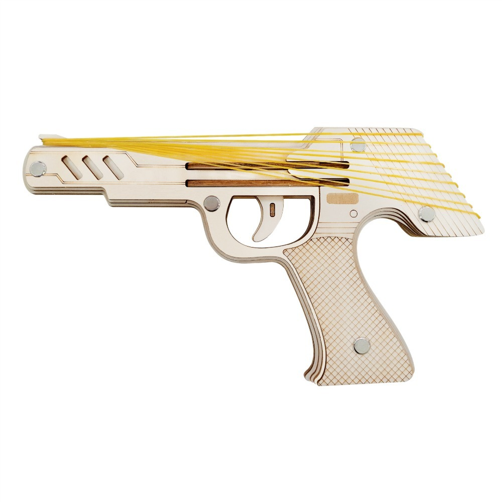 Nulong Laser Cutting 3D Wooden Puzzle Woodcraft Assembly Kit 9 Running Fire Rubber Band Gun with