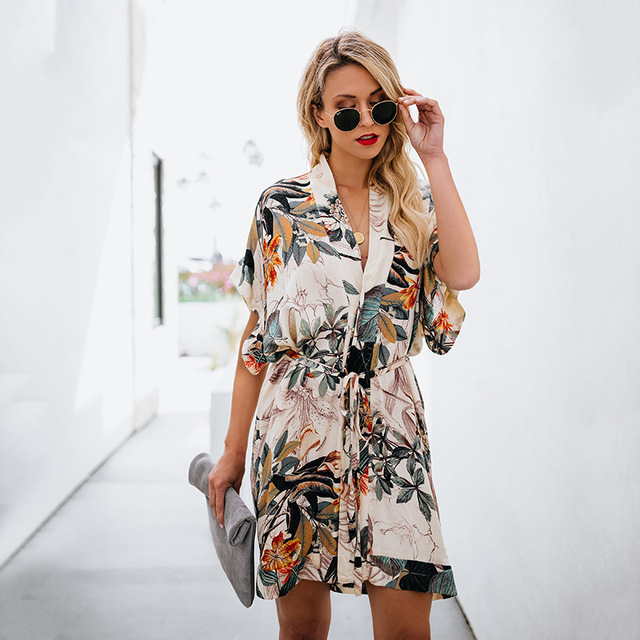 Sexy Floral Leaf Print Short Boho Summer Dress 2019 V Neck Button Mini  Beach Dress Women Casual Ladies Dresses Womens Clothing f6845bd09f46