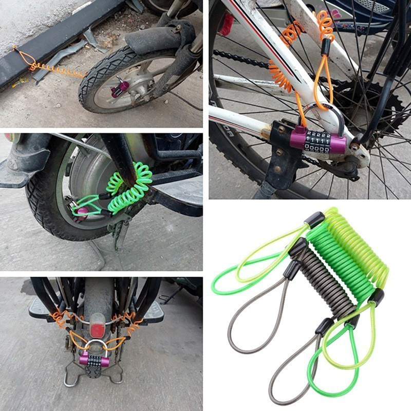 Bike Spring Cable Lock Anti-Theft Rope Alarm Disc Lock Bicycle 1.5M Security