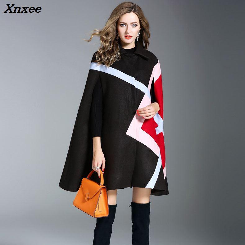 Fashion women winter jacket blends batwing long sleeves cloak ponchos cape coats wool blends outerwear women