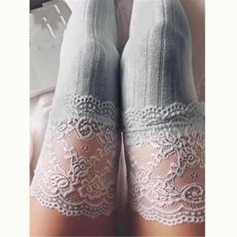 2018 แฟชั่นผู้หญิงฤดูหนาวถักกว่าเข่า Boot ยาวต้นขาสูงถุงน่องอบอุ่นลูกไม้ Leggings สามสี