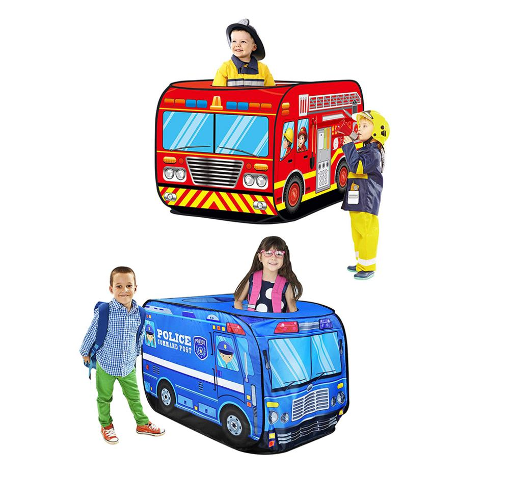 Children Tent Kids Pop Up Play Tent Toy Foldable Playhouse Cloth Fire Truck Police Car Game House Bus