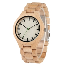 Top Simple Wood Watch Mens Full Durable Maple Wooden Adjustable Strap Quartz Wristwatch Hour Clock Present a Great Gift for Men