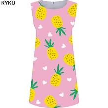 KYKU Pineapple Dress Women Fruit Ladies Dresses Pink Boho Graffiti Party Womens Clothing Elegant Sleeveless Tunic Wrap Fashion