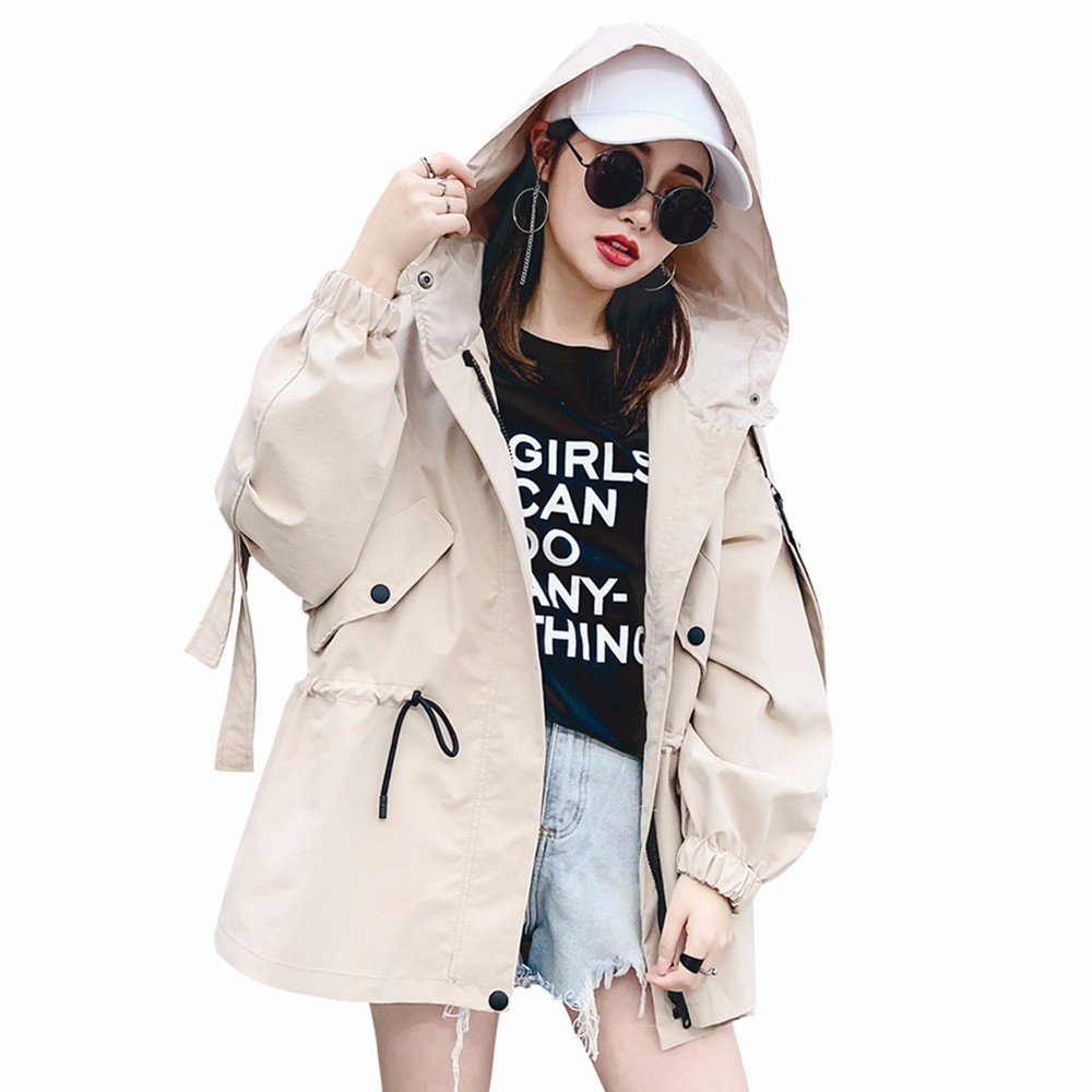 Women Spring Autumn Windbreaker New Basic Jacket 2018 Fashion Zipper Hooded Loose Coat Drawstring Waist Outerwear PJ254