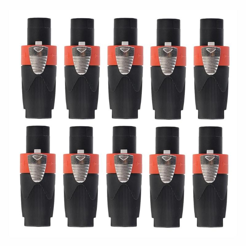 10pcs 4-Pole Male Audio Cable Connector Plug For Cable NEUTRIK/NL4FC/NL4FX/NLT4X Stage Speaker Amplifier Universal Ohmic Plug