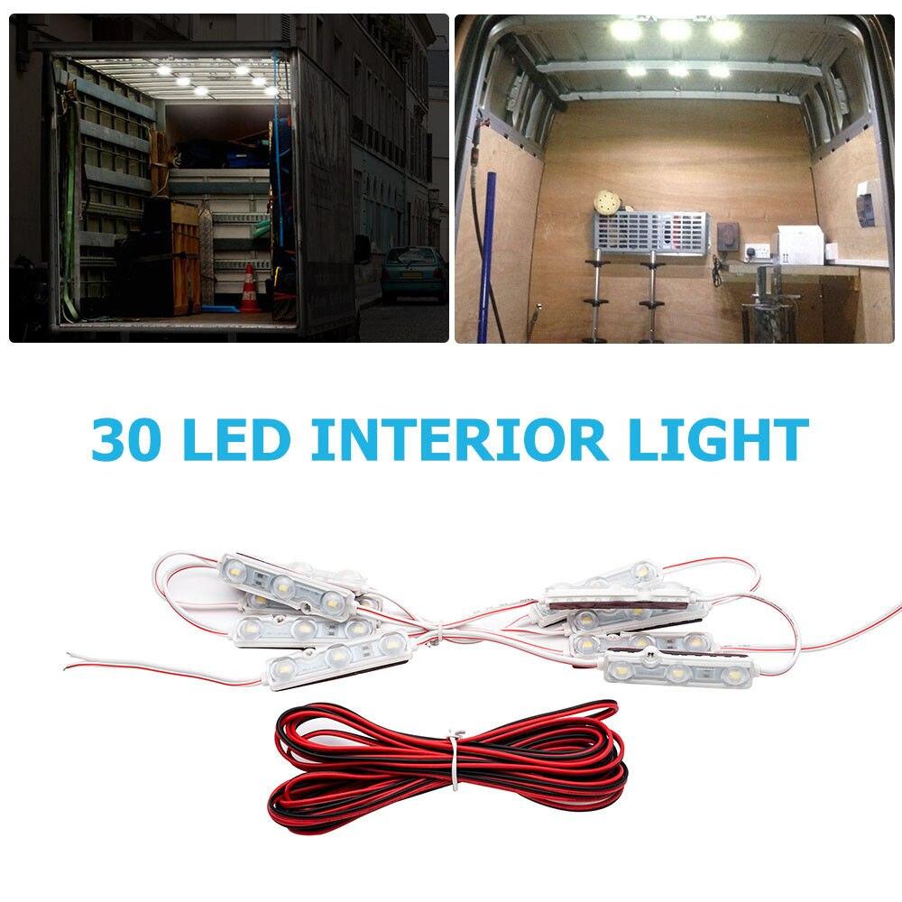 12V 30 Interior LED Super Bright White Light Kit  Upgrade Package Kit For Van Camper Caravan Boat Car White Light