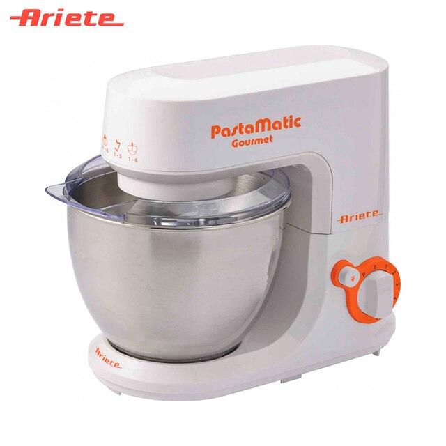 Кухонная машина Ariete 1597 Gourmet, 6 скоростей, импульсный режим, насадки для взбивания, смешивания и замешивания теста, объем чаши 4 литра