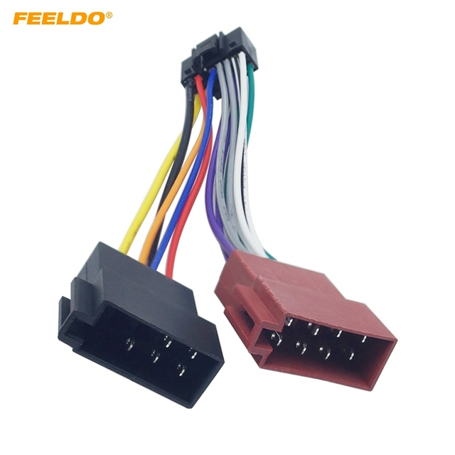 feeldo car stereo radio 16-pin pi100 iso wiring harness adapter for keywood  2003-on audio 2-head speaker wire connector cable