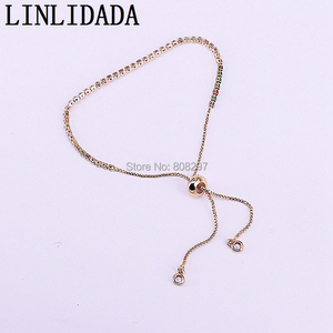 Image 3 - 20Pcs Charm Micro Pave Multi color Cz Zircon Adjustable Link Chain Bracelet For Jewelry Making