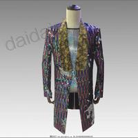 New Men Sequins Disco Bar Singer Blazers Coat Long Ceremonial Costume Host Formal Dress blazer masculino slim fit