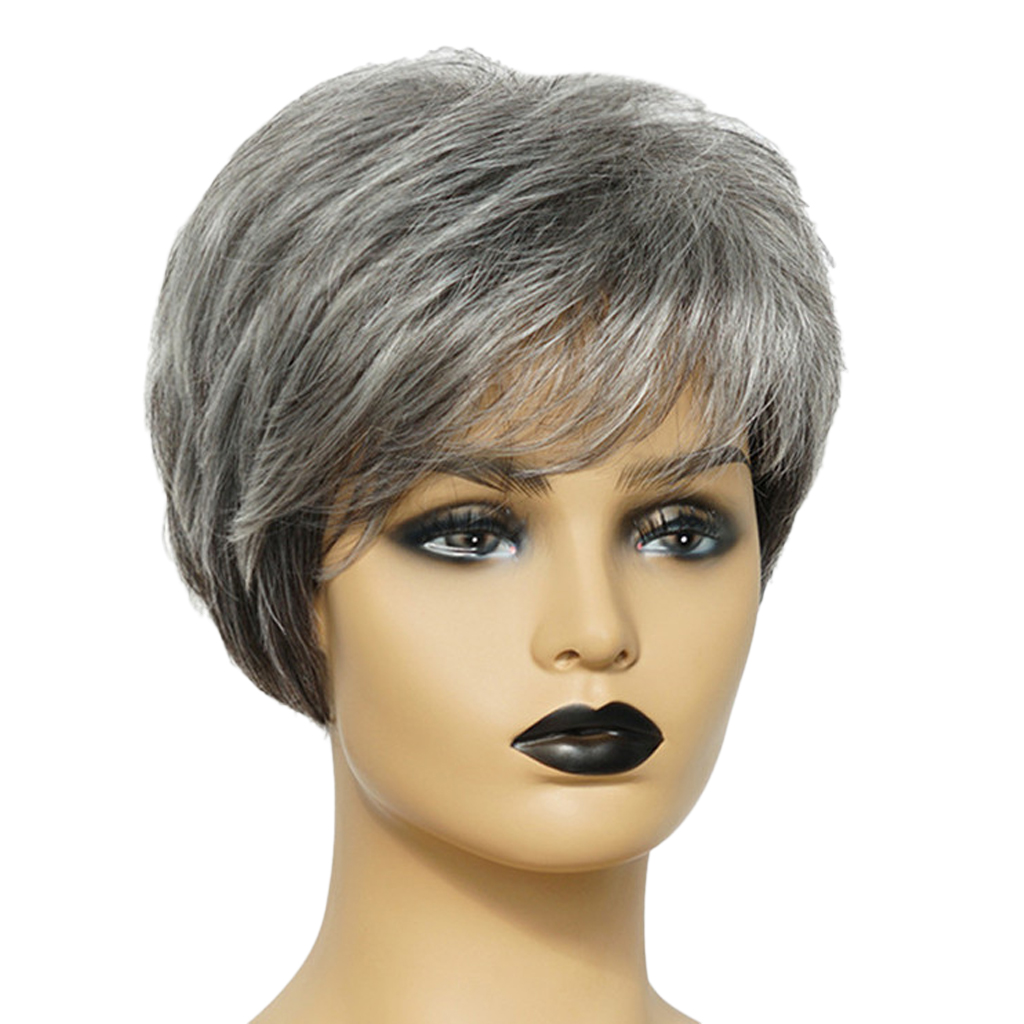 8'' Natural Short Straight Wigs Human Hair Pixie Cut Wig for Women w/ Side Bangs Black Gray