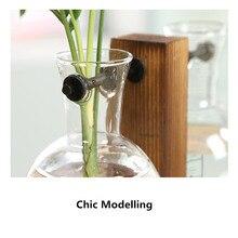 Vintage Glass Hydroponic Plant Transparent Vase Elegant Tabletop Vase Wood Plant Container For Planting Flower Home Decoration