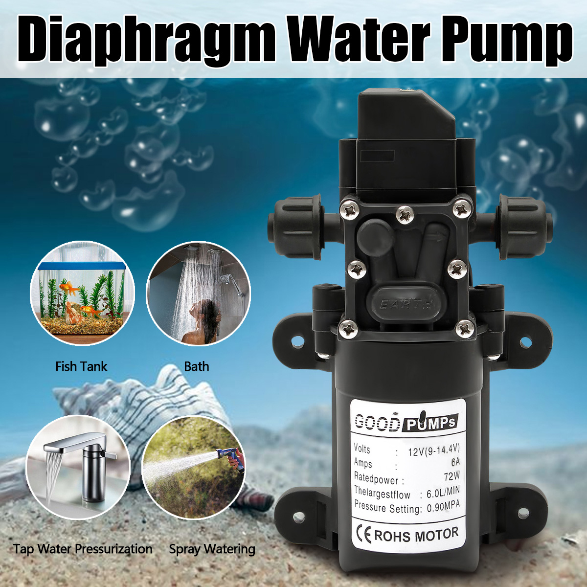 Water Pump 12V 6A 72W 130PSI 6L/Min Stable High Pressure Diaphragm Water Pump PressureProtection Water Sprayer for Caravan BoatWater Pump 12V 6A 72W 130PSI 6L/Min Stable High Pressure Diaphragm Water Pump PressureProtection Water Sprayer for Caravan Boat