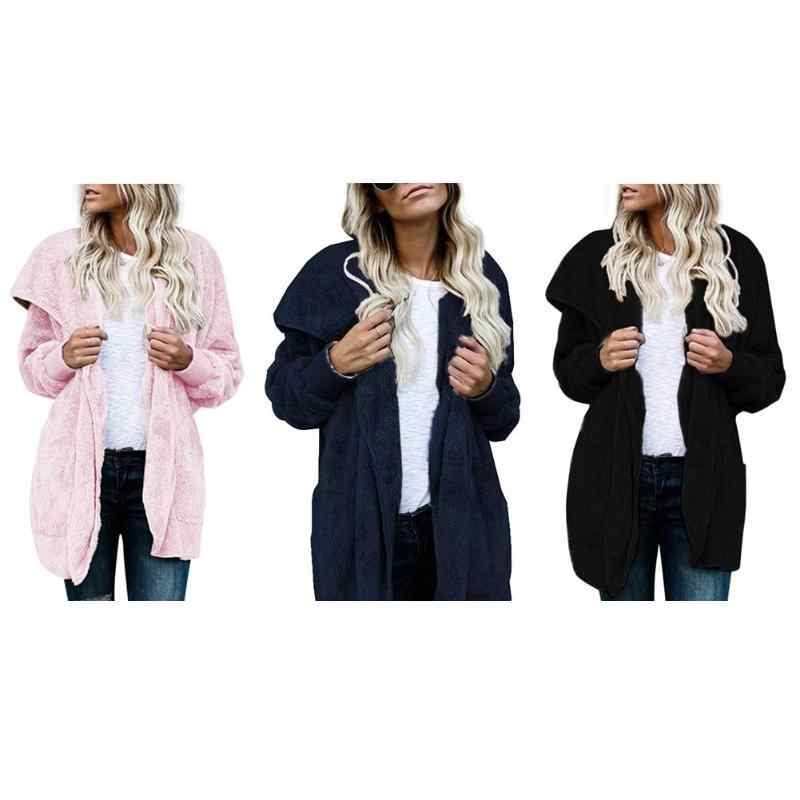4a14f950ed Winter Women Thick Warm Solid Color Coat Fashion Female V Neck Faux Fur  Fleece Jacket Casual