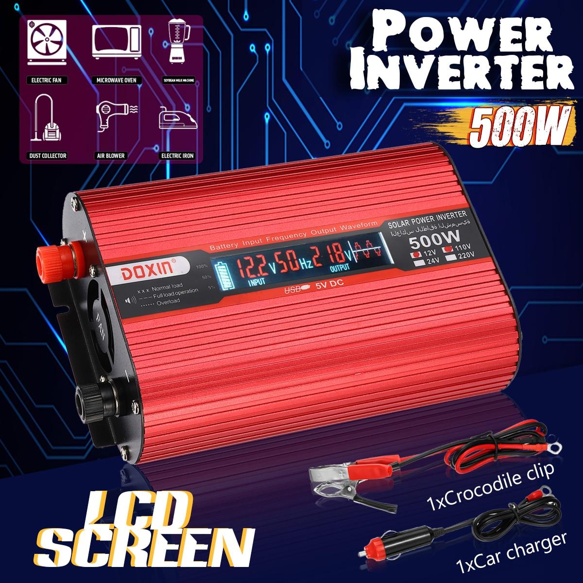 Car Inverter 12V 220V 500W Voltage Transformer Converter DC 12V To AC 220V Sine Wave Solar Inverter + Car Cigarette Lighter цена