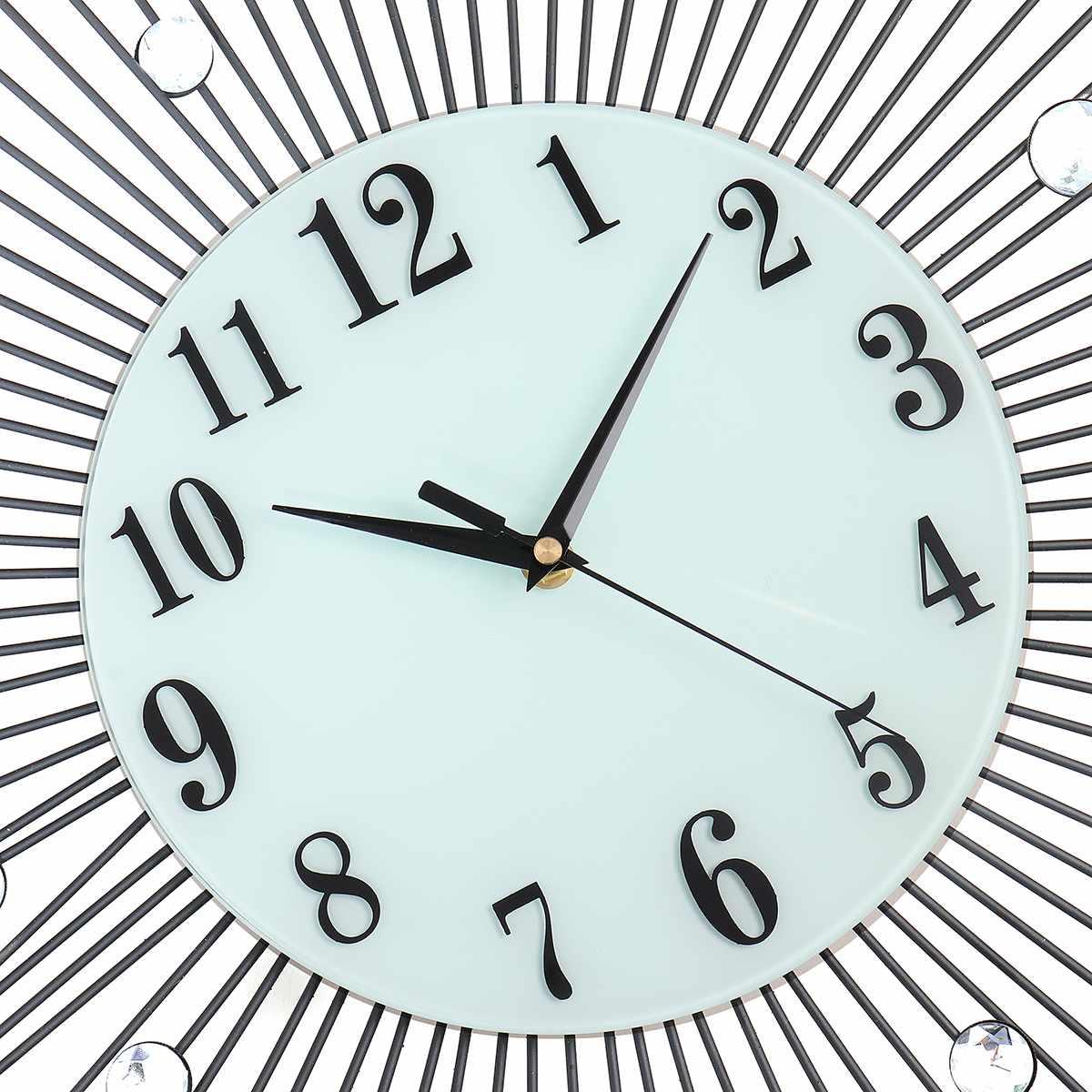 2019 luxe diamant horloge murale fer Art métal cristal 3D grande horloge murale ronde montre miroir diamant suspendus horloges décor à la maison - 5