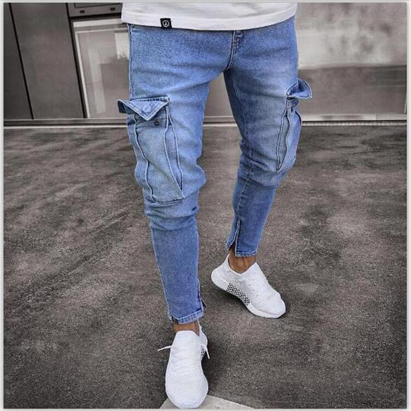 New Mens   Jeans   Denim Pocket Pants Summer And Autumn Thin Slim Hip Hop Male Straight Zipper   Jeans   Elasticity Stretchy Pants
