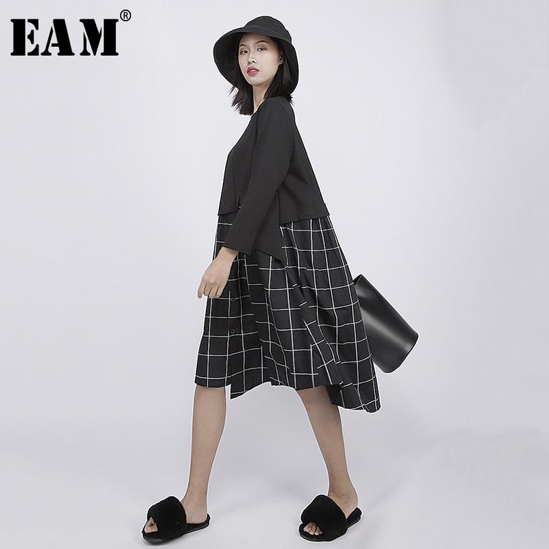[EAM] 2019 nouveau printemps été col rond à manches longues noir lâche Plaid imprimé point lâche robe femmes mode marée JQ567