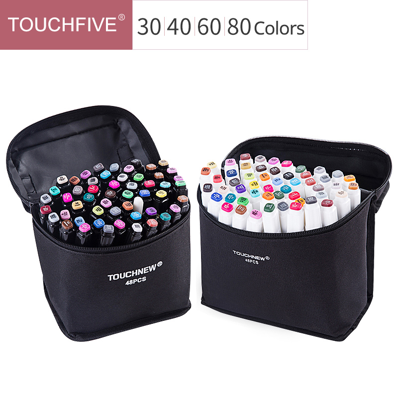 Touchfive 30/40/60/80 Colors Art Markers Set Dual Head Drawing Pen Student  Painting Design Anime Color Marker Pen Art Supplies