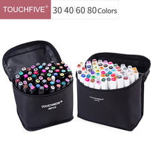 Touchfive 30/40/60/80 Colors Art Markers Set Dual Head Drawing Pen Student Painting Design Anime Color Marker Pen Art Supplies multicolor 30 40 60 80 colors marker pen double headed nib student painting art school horticultural landscape design