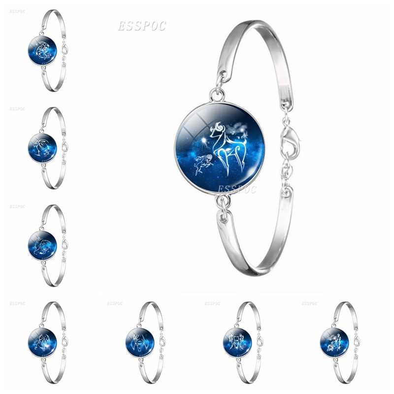12 Zodiac Sign Bracelet Charm Glass Cabochon Chain Bangle Virgo Sagittarius Libra Scorpio Constellation Jewelry Birthday Gift