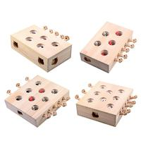 Cat Chew Toy Pet Training Toys Mouse Solid Wooden Interactive Pet Hamster With Five Holes Mouse Hole Catch Bite Quick Delivery