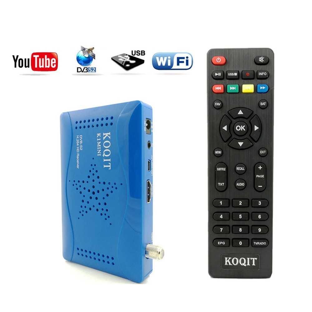 Koqit DVB-S2 TV Tuner Satellite Receiver Digital Set Top Box USB DVB S2 Receiver Satellite Cline/Biss/Cccam Decoder WIFI Youtube
