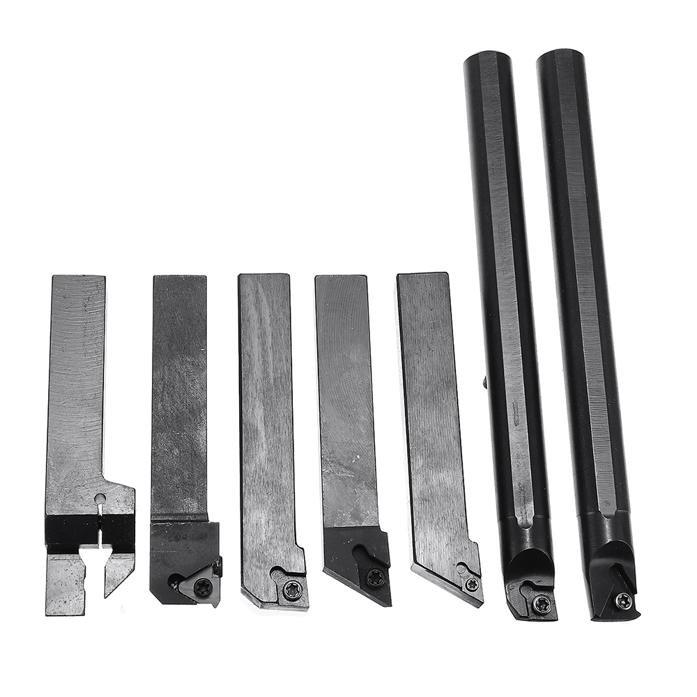 7pcs 16mm Shank Lathe Turning Tool Holder Boring Bar  Set With Carbide Inserts And Wrenches